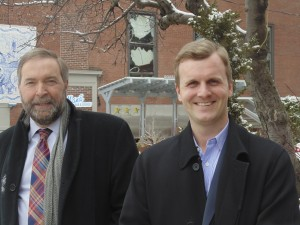 Leader of the Opposition and NDP leader Thomas Mulcair and federal by-election candidate Joe Cressy walk the walk with the Gleaner recently in Little Italy. BRIAN BURCHELL/GLEANER NEWS