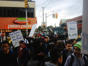 Central Tech students rally along Bloor street on October 12 calling for action to get their playing field back in action. BRIAN BURCHELL/GLEANER NEWS
