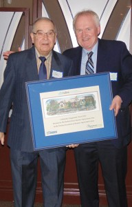 Neil Wright (right), chair of the Harbord Street Business Improvement Association, accepts the Toronto Association of Business Improvement Areas' (TABIA) community engagement award last month on behalf of the local BIA. The Bloor-Yorkville BIA was also recognized, receiving an award for its events. Approximately 28 BIAs from across Toronto were celebrated in 13 categories at TABIA's fourth annual awards dinner, which honours BIAs for improving the city's neighbourhoods.