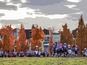 The Central Technical School Blues took on the football players of Sir John A. Macdonald Collegiate Institute on Nov. 7, 2013, before going on to win the citywide finals that year. The field was locked down shortly thereafter, following the discovery of contamination in the soil. The Central Tech students are keen to get their field back, and support the TDSB's plan to install a championship field, which would include artificial turf and a seasonal dome, at the site. Photo Brian Burchell, Gleaner News
