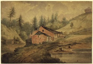 Bloore's Brewery operated from 1830 to 1843. It was located beneath what is now the Sherbourne Street bridge just north of what was then First Concession Road, now Bloor Street. Watercolour by Richard Baigent (1865).