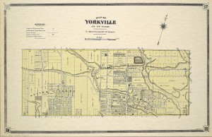 "Map of Yorkville 1878. A commuter ""suburb"" with its own waterworks, firehall, and cemetery. Sheriff Jarvis rejected the original proposed name of Bloorville. Map by Alfred Cotterell. Courtesy Toronto Public Library - Special Collections"