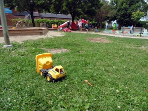 Healey Willan Park is littered with toys from trucks to tricycles, so parents don't need to bring their own.