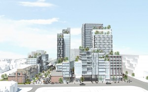 An artist's rendering shows the redeveloped Mirvish Village, as envisioned by Westbank in its application to the City of Toronto, from Lennox Street. The proposed development includes purpose-built rental housing, provides accommodations for cycling, and seeks to be as sustainable as possible. COURTESY?HENRIQUEZ Partners architects