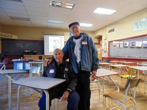 Long-time friends Stan Goldstein (left) and Jack Reiter, who graduated from Tech in 1950 and 1948 respectively, meet in one of the Decades Rooms.