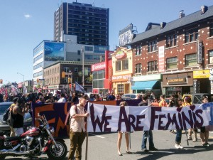 The University of Toronto community rallied on Bloor Street just east of Spadina on Sept. 14 after an announcement that online threats had been made against feminists. Brian Burchell, Gleaner News