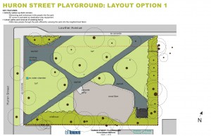 The City of Toronto's Parks, Forestry and Recreation department is considering two layouts for the renewed Huron Street Playground. The first option (above) includes welcoming park entrances, a southest corner activated by destination play equipment, and the removal of the existing fence. In the second option (left), a perimeter path surrounding the play equipment will provide a circuit for racing or running. The existing fence will remain, complemented by the addition of new welcoming entrance options. Images courtesy of Forest and Field Landscape Architect and the City of Toronto.
