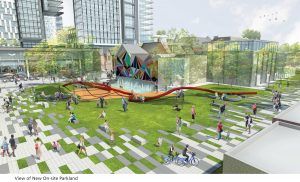 PHOTO COURTESY?WESTBANK?PROJECTS CORP./Henriquez Partners Architects: A new on-site park is part of Westbank's revised rezoning application. Still at the conceptual stage, it will include a dog run, water feature, and urban agriculture.
