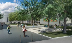 PHOTO COURTESY RON BERNASCH/JSW+ ASSOCIATES: The landscape architect overseeing the enhancements said the aim is to emulate a university campus.