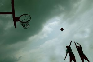 PHOTO BY JENNIFER ROBERTS/GLEANER NEWS: In July of 2007, Shadeem Provo and Khalik Provo, both then 14, compete for the ball on Hillcrest Park's basketball court. Hillcrest Park received an A+ grade in our annual parks survey in 2007.