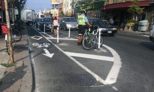 PHOTO BY SUMMER REID/GLEANER NEWS: The Bloor Street pilot bike lane project was launched on Aug. 12.