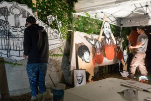 Beloved idols returned to Mirvish Village as the Plywood Collective painted a mural outside Markham House.